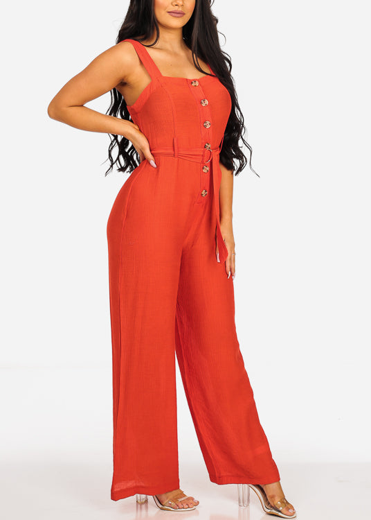 Red Belted Linen Jumpsuit