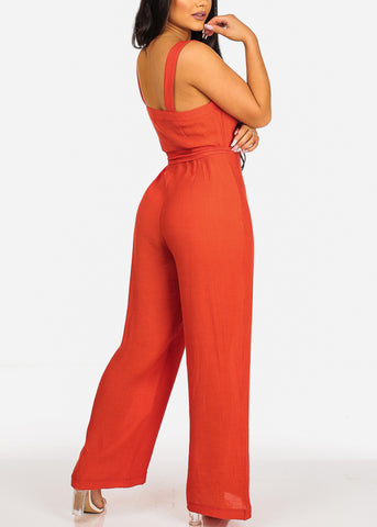 Sexy Summer Sleeveless Button Up Red Linen Jumpsuit W Belt