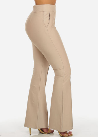 Beige High Waisted Wide Legged Pants