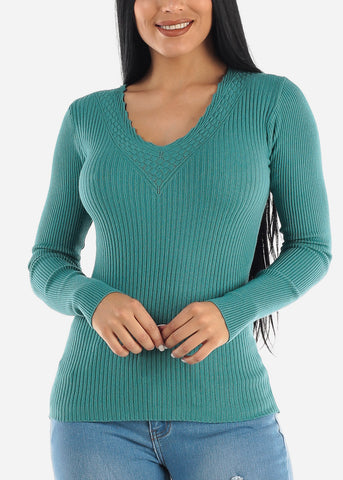 Pretty Teal Ribbed Sweaters