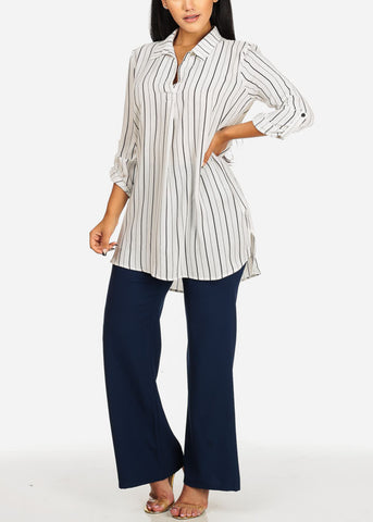 Navy High Rise Wide Legged Pants