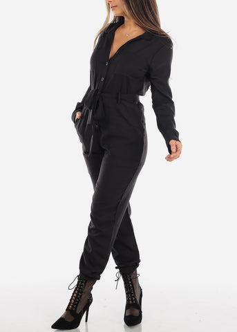Image of Black Long Sleeve Button Down Jumpsuit