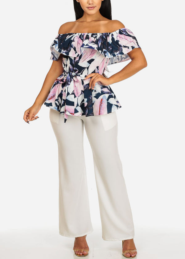 White High Rise Wide Legged Pants