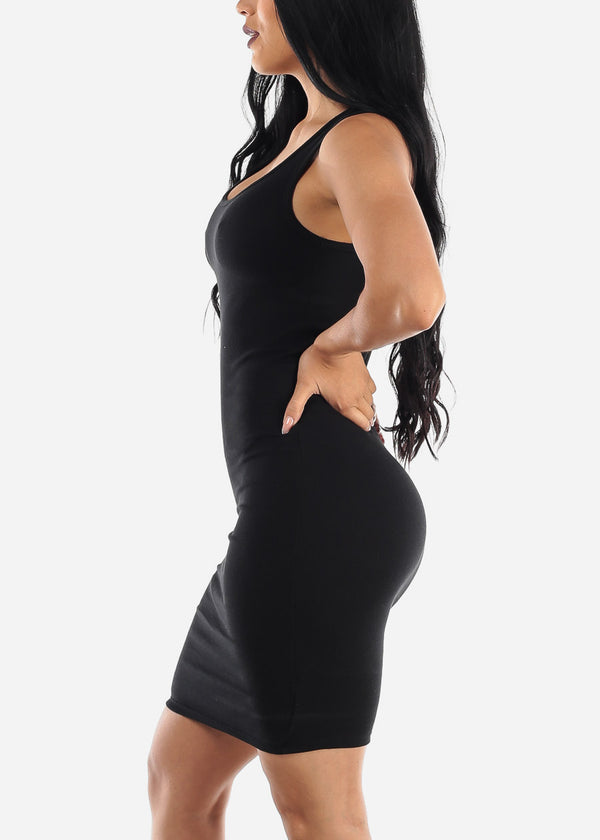 Sleeveless Black Bodycon Midi Dress