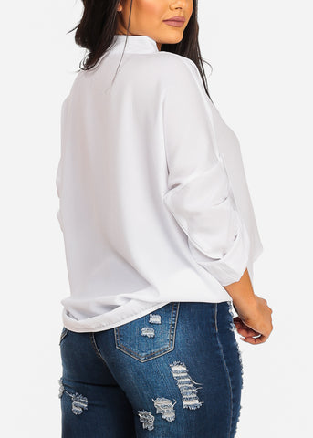 Stylish Lightweight 3/4 Sleeve White Tunic Top