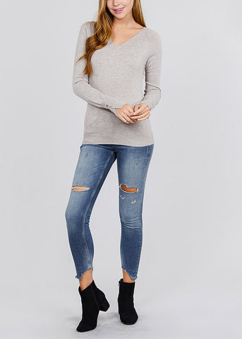 V Neck Long Sleeve Heather Taupe Pullover
