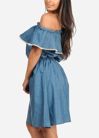 Image of Women's Junior Ladies Stylish Summer Going Out Brunch Beach Vacation Medium Blue Denim Lightweight Off Shoulder Dress