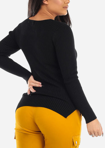 Image of Ribbed Black V-Neck Sweater