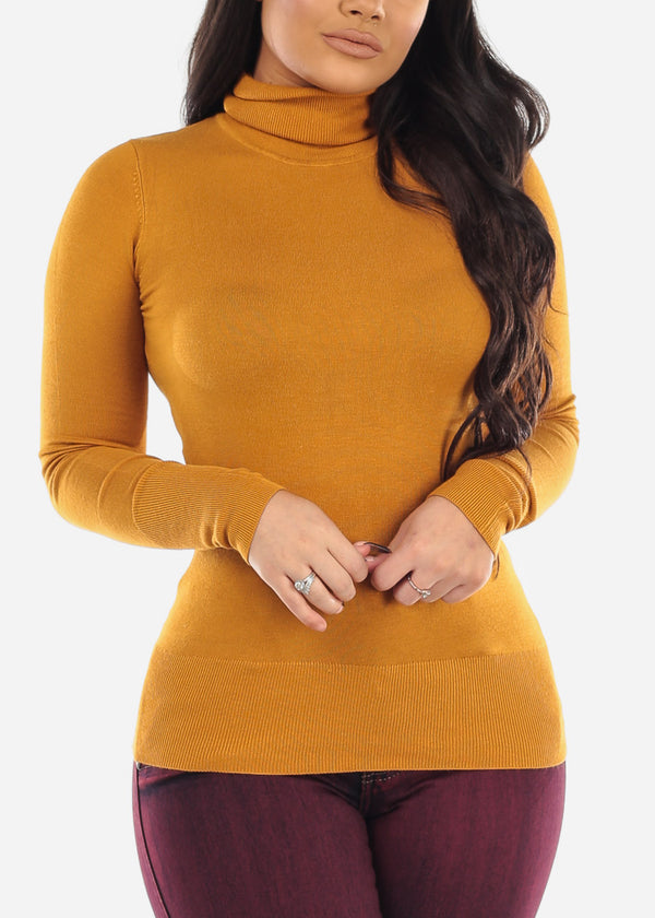 Mustard Turtle Neck Top