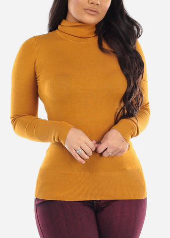 Image of Mustard Turtle Neck Top