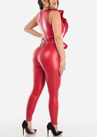 Image of Red Ruffled Pleather Jumpsuit