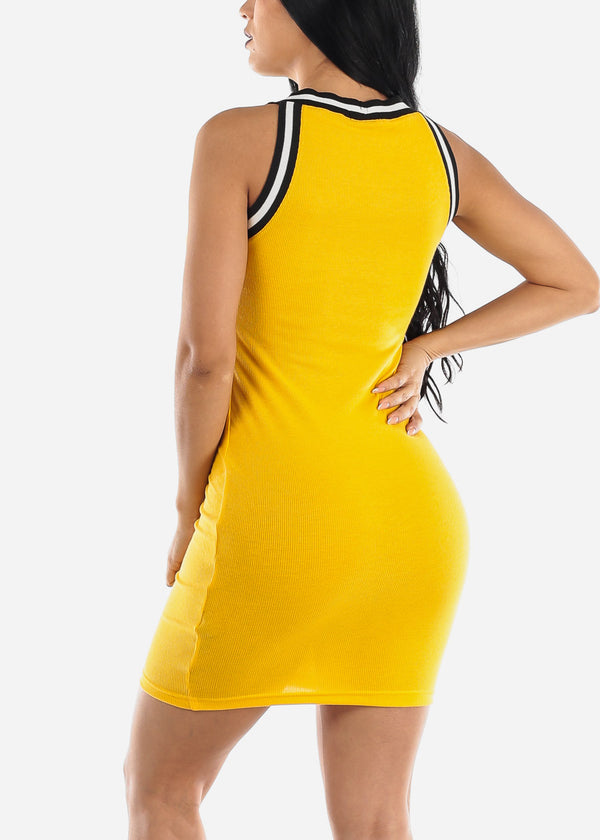 Sleeveless Yellow High Neck Bodycon Dress