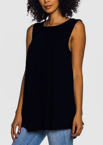 Image of Sleeveless Black Tunic Top