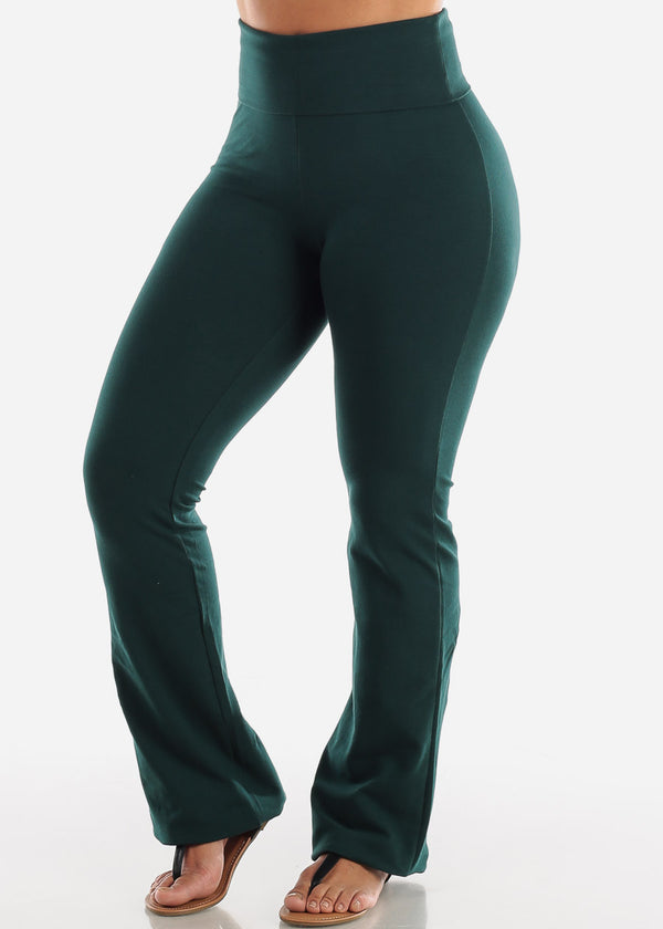 Dark Green Cotton Spandex Fold Over Yoga Pants