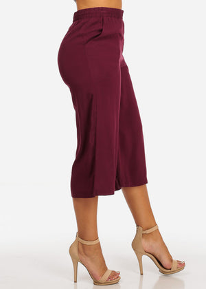 Lightweight Burgundy High Rise Cropped Pants