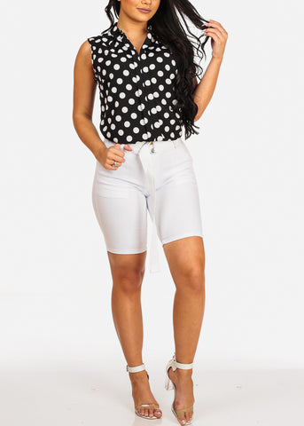 Cute Stylish Sexy Black Polka Dot Top