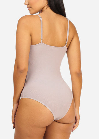 Basic Grey Ribbed Bodysuit