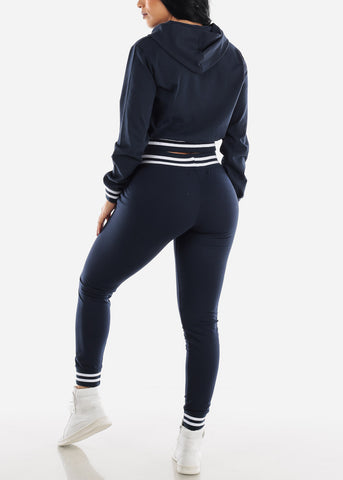 Image of Navy Hoodie & Jogger Pants (2 PCE SET)