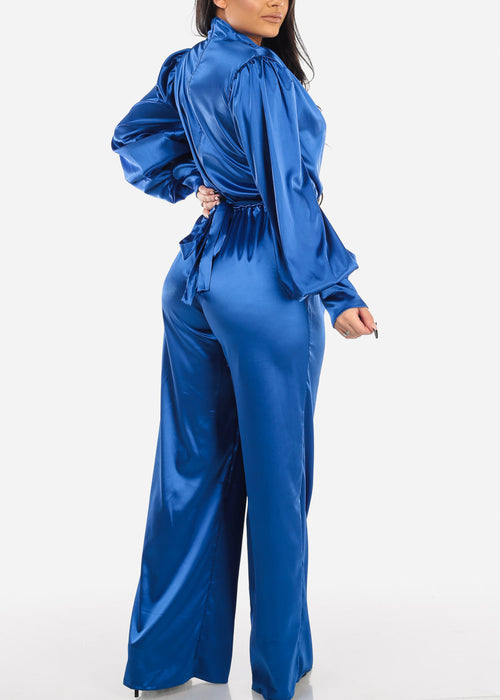 Royal Blue Silky Plunge Neckline Jumpsuit