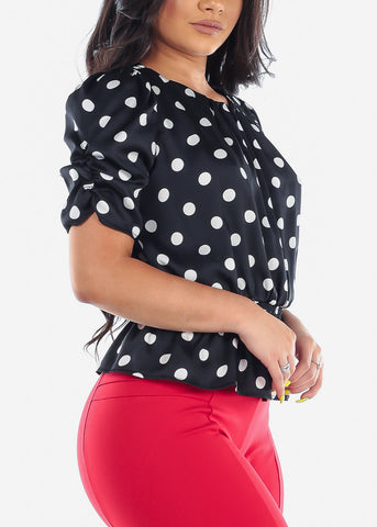 Women's Junior Ladies Sexy Cute Classy Dressy Round Neckline Short Sleeve Black And White Polka Dot Lightweight Blouse Top