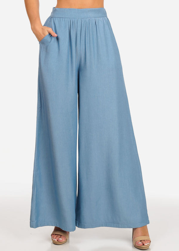 Women's Junior Ladies Going Out Stylish Trendy Ultra High Waisted Wide Legged Palazzo Sky Blue Silk Pants
