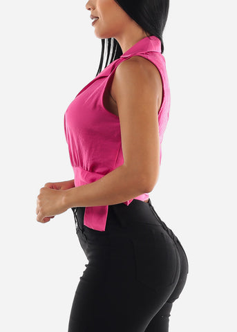 Hot Pink Wrap Around Top