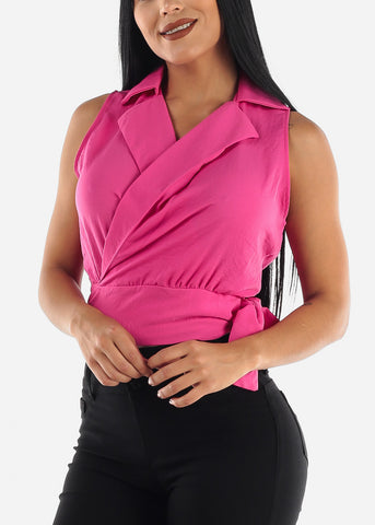 Image of Hot Pink Wrap Around Top