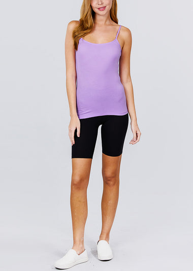 Adjustable Cotton Spaghetti Strap Tank Top(Lilac)