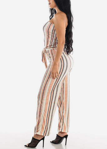 Stripe Orange Strapless Jumpsuit