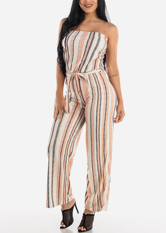Image of Stripe Orange Strapless Jumpsuit