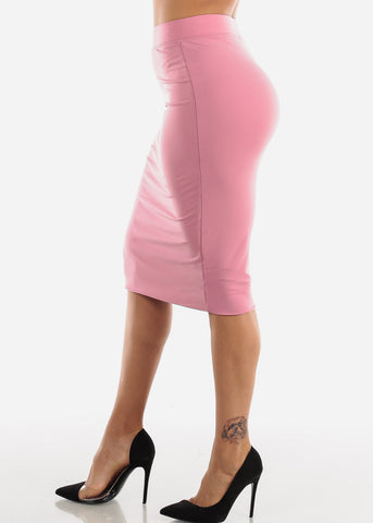 High Waisted Mauve Pencil Skirt