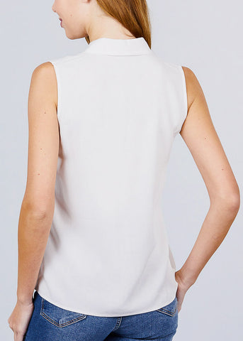 Image of Half Button Up Ivory Sleeveless Shirt