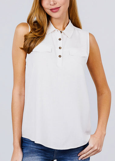 Half Button Up Ivory Sleeveless Shirt