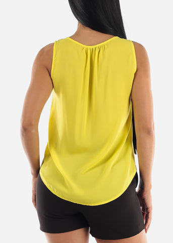 Image of Yellow Sleeveless Blouse