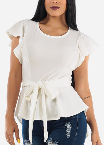 Ivory High Low Dressy Top