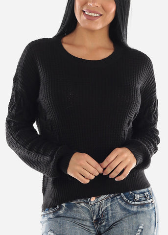 Image of Long Sleeve Knitted Black Sweater
