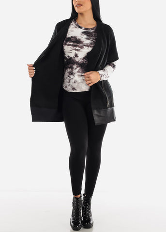 Black Side Zip Up Poncho Sweater
