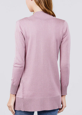 Image of Mauve Ribbed Banded Open Sweater Cardigan