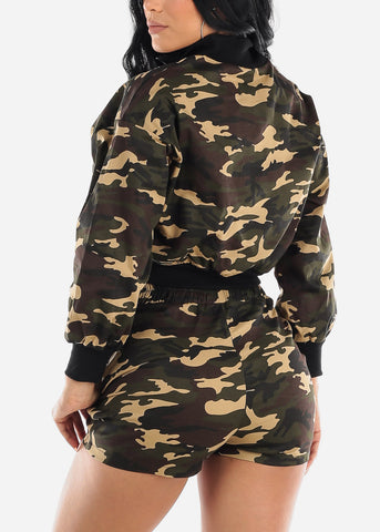 Camo Crop Top & Shorts (2 PCE SET)