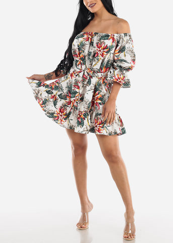 Image of Off Shoulder White Floral Mini Dress