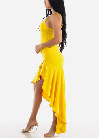 High Low Sleeveless Yellow Maxi Dress