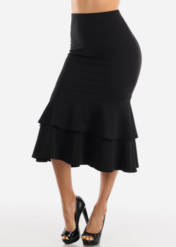 Image of Ruffle Hem Black Maxi Skirt