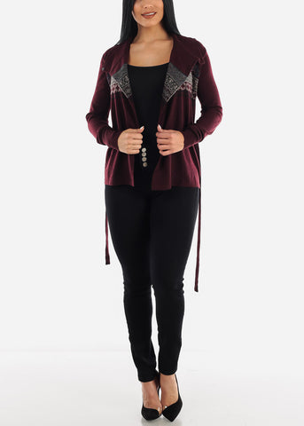 Burgundy Printed Cardigan with Belt