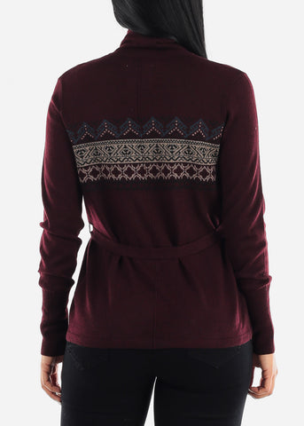 Burgundy Printed Cardigan with Belt J36614BURG