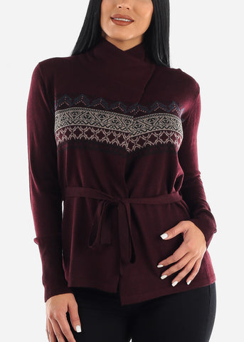 Image of Burgundy Printed Cardigan with Belt