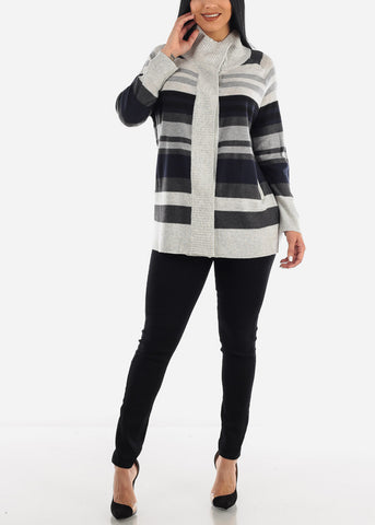 Cozy High Neck Stripe Casual Sweater