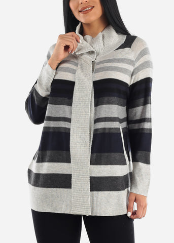 Image of Cozy High Neck Stripe Casual Sweater
