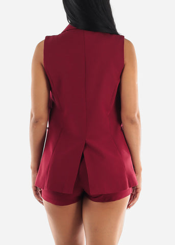 Image of Sleeveless Burgundy Blazer