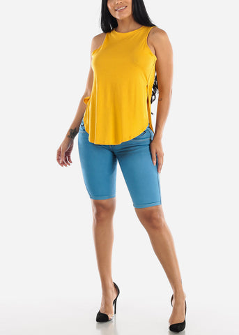 Sleeveless Mustard Muscle Tee