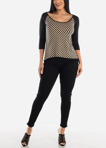 Image of Cute Striped Casual Top